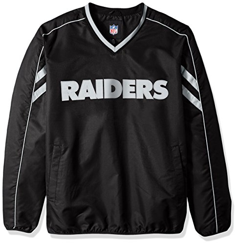 G-III Sports NFL Oakland Raiders Adult Men Red Zone V-Neck Pullover, Small, Black (Mens Jacket G-iii)