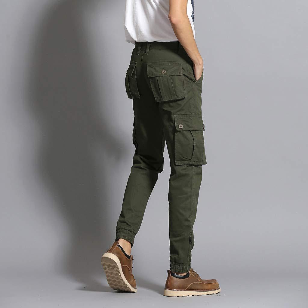 Mens Plus Size Long Pants Multi-Pocket Casual Loose Fashion Comfort Elastic Waist Overalls Sweatpants Solid Slacks Daorokanduhp