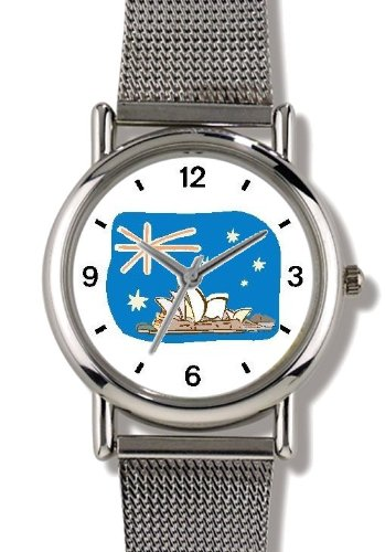 Flag of Australia - Sydney Opera House - WATCHBUDDY ELITE Chrome-Plated Metal Alloy Watch with Metal Mesh Strap-Size-Large ( Men's Size or Jumbo Women's Size (Aussie Flag Dress)