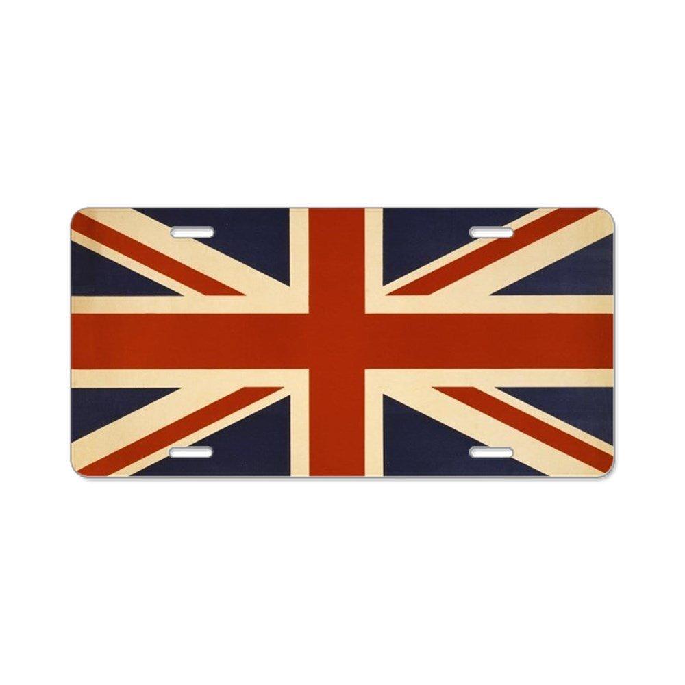 CafePress –  Vintage de bandera Union Jack aluminio placa de licencia –  matrí cula de aluminio, frontal Placa de Licencia, tocador etiqueta