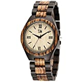 TJW Mens Natural wooden Watches Analog Quartz Handmade Casual Wrist Watch 6006-4M (zebra wood)