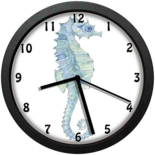 (luckboy-zm Profile Picture of a Seahorse in Paintbrush Watercolor Style with Haze Effects,Large Wall Clock Home Office School Wall Clock 12in(About 30CM))
