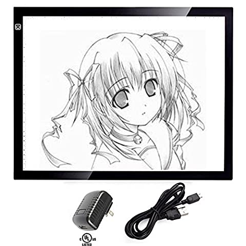 A3 Tracing Light Box, CCTRO Portable LED Artcraft Tracing Light Pad A3 Light Box Tracer USB Power Cable Dimmable Brightness Tattoo Pad Animation, Designing, Sketching, Drawing, Artists, X-ray (Y Flicker A1)