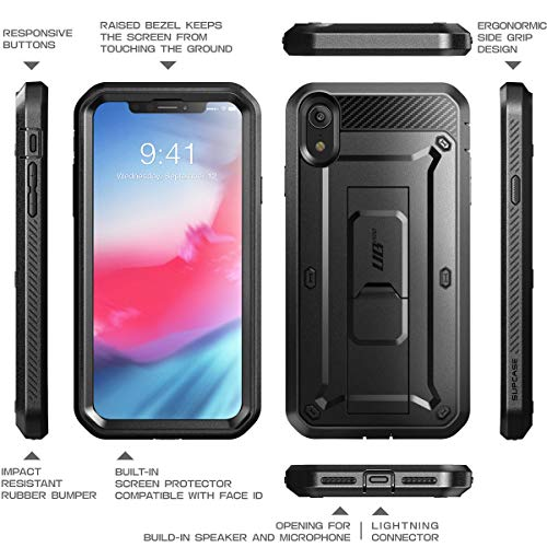SUPCASE iPhone XR Case, Full-Body Rugged Holster Case with Built-in Screen Protector for Apple iPhone XR (2018 Release), Unicorn Beetle Pro Series (Black) by SUPCASE (Image #6)