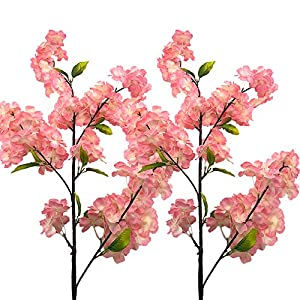 Aisamco 4 Pack Artificial Cherry Blossom Branches Flowers Silk Peach Flowers Arrangements Tall Artificial Plant 39 Inch in Tall for Home Wedding Floral Decoration 1