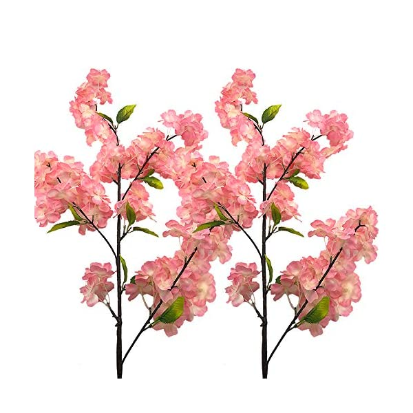 Aisamco 4 Pack Artificial Cherry Blossom Branches Flowers Silk Peach Flowers Arrangements Tall Artificial Plant 39 Inch in Tall for Home Wedding Floral Decoration