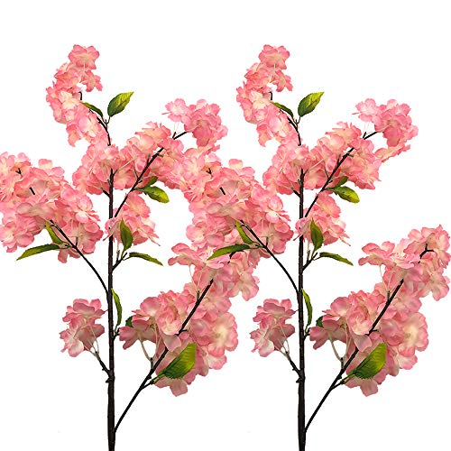 Aisamco 4 Pack Artificial Cherry Blossom Branches Flowers Silk Peach Flowers Arrangements Tall Artificial Plant 39 Inch in Tall for Home Wedding Floral - Blossom Cherry Silk Branches