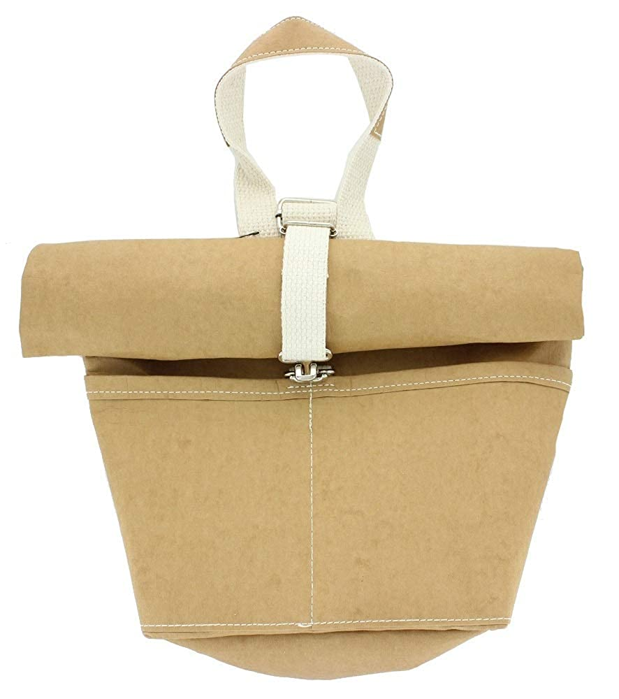 US001 Sand Color Roll Up Lunch Bag with Shoulder Strap Uncuffed Handmade with A Variety of Recycled Fiber Blends Handmade with A Variety of Recycled Fiber Blends 7 W x 3 D x 14 H inches . Uncuffed 7 W x 3 D x 14 H inches