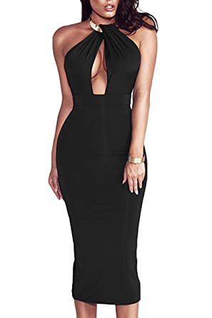 Sunfury Woman Sexy V Neck Halter Low Back Body Con Dresses With Choker  Necklace Black Small 53bb3681b