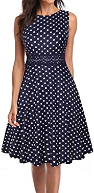 Owin Women's Vintage Cocktail Dress Sleeveless Waist Round Neck Floral Casual Midi D