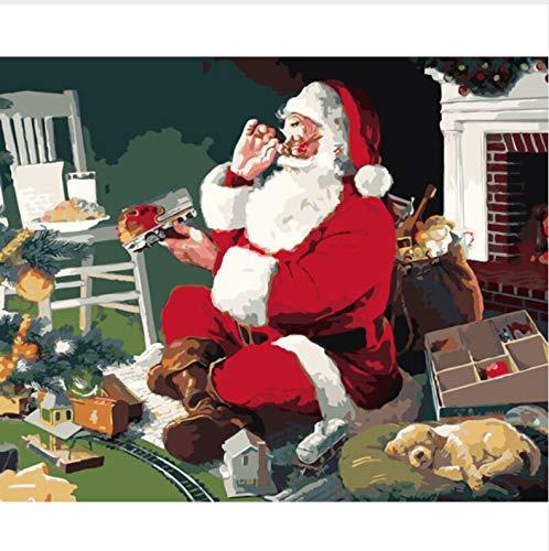 CZYYOU DIY Weihnachten Arcylic Malen Nach Zahlen Auf Leinwand Wandbilder Kunst Für Wohnzimmer Home Decoration, Mit Rahmen, 40x50cm B07NWL66LV | Deutschland Shops