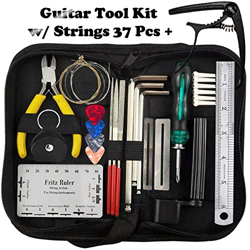 Guitar Tool Kit for Repairing/Maintenance(38 Pcs),Setup Kit Accessories,Strings Organizer+Picks+Capo+Hex Wrenches+Bridge Pins+Wire Plier+Peg Winder+Screwdriver for Ukulele Bass Mandolin Banjo