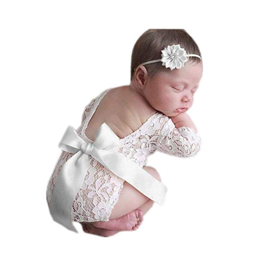Fashion Newborn Girls Baby Costume Outfits Photography Props Flower Headdress Rompers Sets