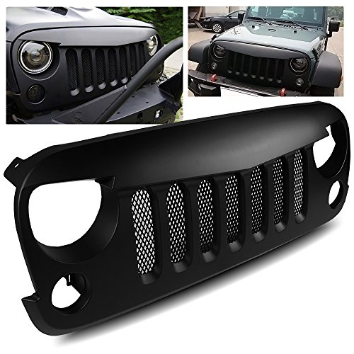 ModifyStreet 2007-2017 Jeep Wrangler JK/Rubicon Angry Bird Style Matte Black Sport Grille with Mesh Insert