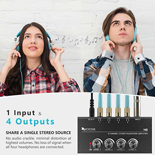 Fifine Headphone Amplifier 4 Channels Metal Stereo Audio Amplifier,Mini Earphone Splitter with Power Adapter-4x Quarter Inch Balanced TRS Headphones Output and TRS Audio Input for Sound Mixer-N6