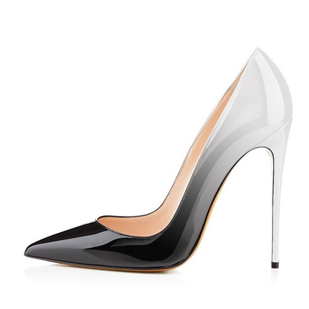 Black to Grey White UMEXI Women Pointed Toe High Heels Slip on Stilettos Wedding Party Dress shoes Plus Size Pumps