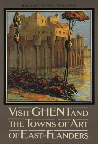 GHENT  VINTAGE REPRODUCTION A4 TRAVEL POSTER