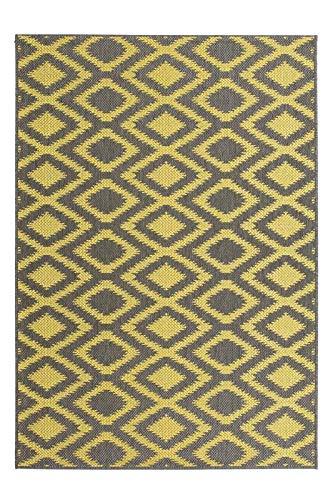 (Rugs Beyond Sisal Indoor/Outdoor Area Rug, Power-loomed, Polypropylene, Harlequin, Grey/Yellow, 5'3