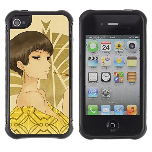 iPhone 4 / iPhone 4S , Sexy Woman Brown Eyes Bare Shoulders Art