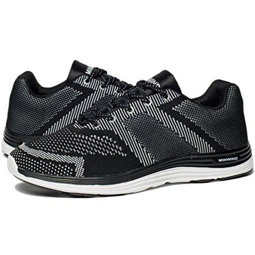 YHOON Herren Comfort Laufschuhe Leichte Sportschuhe stricken Casual Sneakers Schwarz