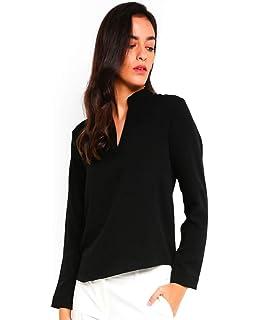 54a2748b2a6873 ENL Black Cotton Linen Office Shirt Women s Western Everyday TOP Blouse