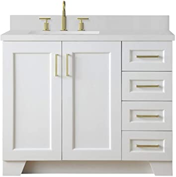Amazon Com Ariel Taylor 43 Inch Bathroom Vanity In White With White Quartz Countertop With Left Offset Rectangle Sink Kitchen Dining