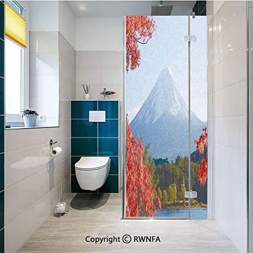 RWNFA No Glue Static Cling Glass Sticker Mountain Fiji with Snowcapped Summit and Lake Maple Trees in Autumn Decorative Film,23.6