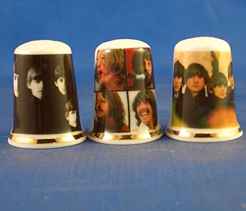 Porcelain China Collectable Thimbles - Set of Three Beatles Lp