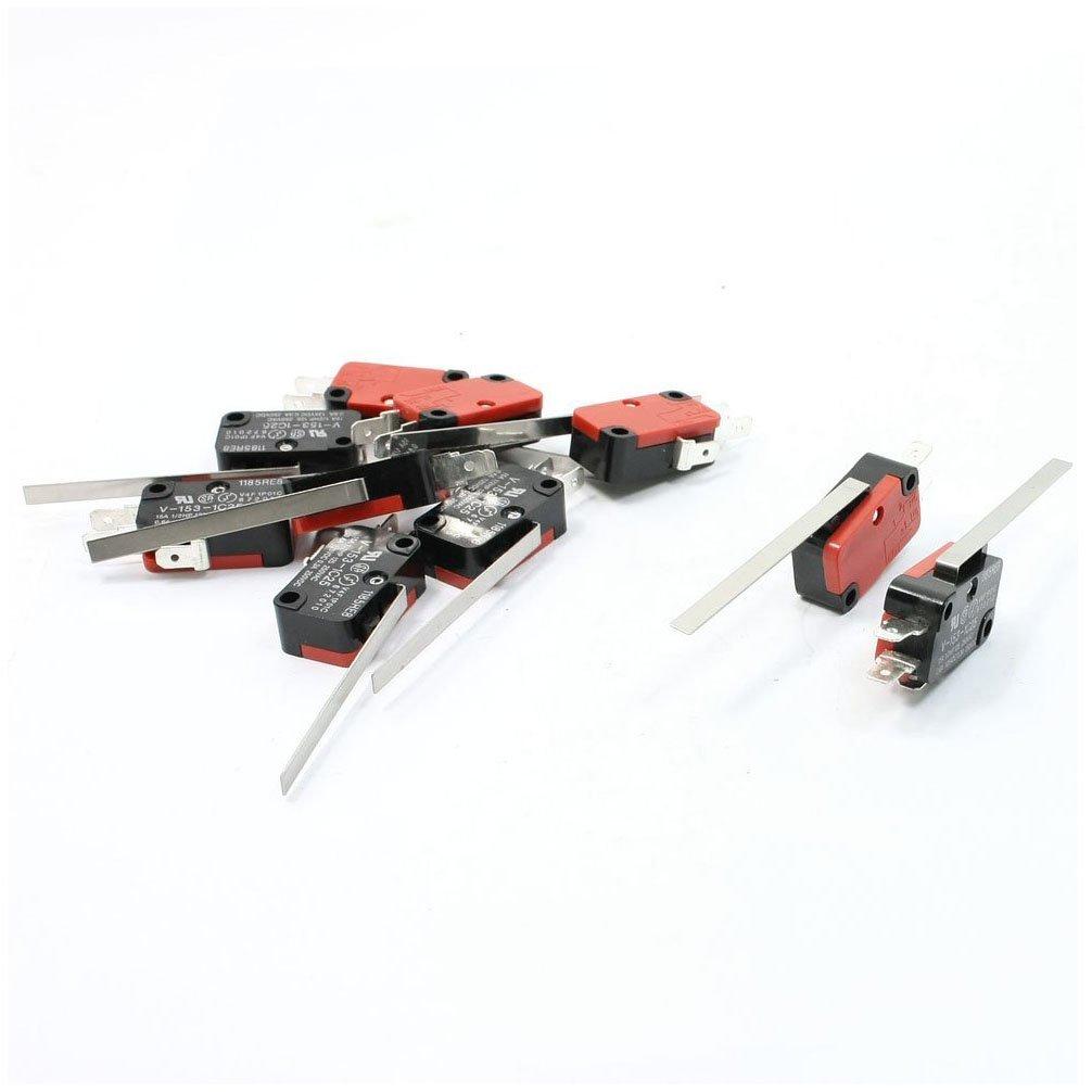 Interruptor micro - SODIAL(R) 10 x Micro Interruptor de accion rapida del brazo largo directo de palanca de bisagra de carreras final Rojo+ Negro