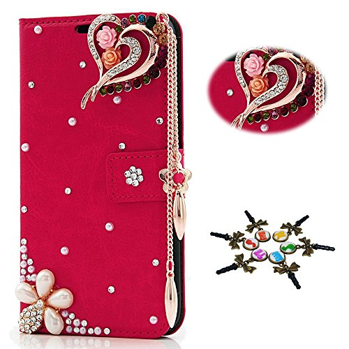- STENES Galaxy S6 Edge Plus Case - 3D Handmade Crystal Heart Pendant Flowers Sparkle Wallet Credit Card Slots Fold Media Stand Leather Cover For Samsung Galaxy S6 Edge Plus - Red