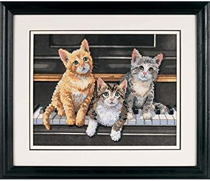 Dimensions Meowsical Trio Stamped Cross Stitch Kit