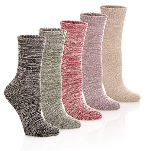 HERHILLY Womens Winter Warm Socks - Thick Soft Solid Color Cotton Crew Socks 5 Pack (5 Pack Style C1)