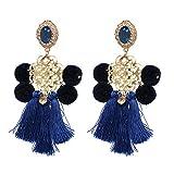 Bohemian Women Tassel Earrings Handmade Pom Pom Statement Earrings Dangle Drop Earring Oorbellen Blue