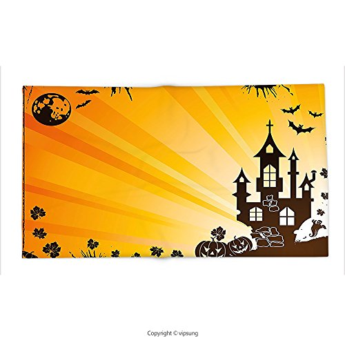 Custom printed Throw Blanket with Halloween Decorations Collection Grunge Halloween Scene with Haunted Gothic Castle Bats Ghost Theme Pumpkins Orange Black Super soft and Cozy Fleece Blanket