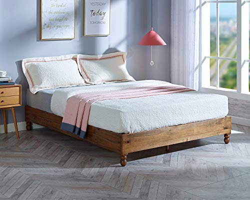 MUSEHOME 12 Inch Wood Bed Frame Rustic Style Eliminates The Need for a Boxspring, Natural Pine Finish, Full
