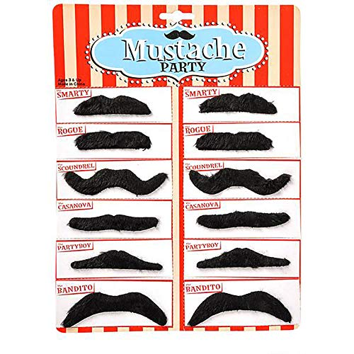 Kicko Party Black Mustache - 12 Adhesive Whiskers for Kids and Adults Costume Play Accessories - 3.5 Inch Fake Beard Set Perfect for Cinco De Mayo, Cowboy Parties and Cool]()