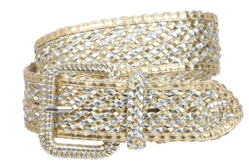 2 Inches Wide Hand Made Braided Square Buckle Belt Size: M/L - 36 Color: Gold/Silver - Square Covered Buckle
