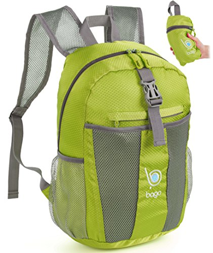 Bago Lightweight Backpack. Water Resistant Collapsible Rucksack for Travel and Sports. Foldable and Packable Daypack for Adults, Men and Women, Teens and Children