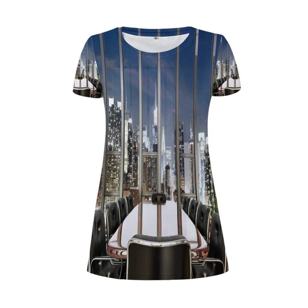 TecBillion Modern Decor A Flamboyant Round Necked Dress,for Women,XS