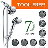 Dual Shower Head with Handheld DreamSpa Instant-Mount Drill-Free Height / Angle Adjustable 36-Setting 3-Way Shower Head / Handheld Shower with 22-Inch Stainless Steel Slide Bar, Chrome Finish