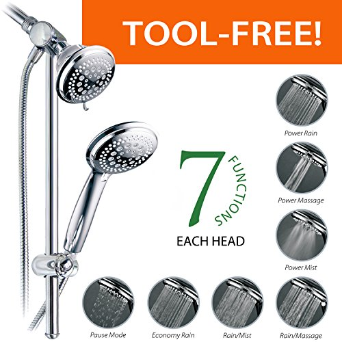 high-quality DreamSpa Instant-Mount Drill-Free Height / Angle Adjustable 36-Setting 3-Way Shower Head / Handheld Shower with 22-Inch Stainless Steel Slide Bar, Chrome Finish