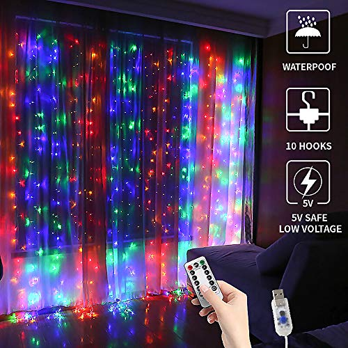 GHodec Colorful Curtain String Lights 300 LED, USB Powered Fairy Twikle Lights for Christmas,Bedroom,Wall Decorations (9.8x9.8Ft Multi-Color)