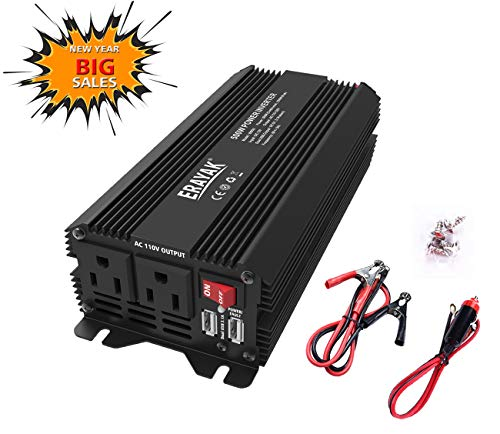 (Erayak Car Power Inverter 500W DC to AC 12V to 110V Power Converter with 3.1A USB Charging Ports, Car Inverter Car Adapter for Electronics Devices Inverters)