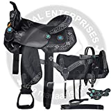 Manaal Enterprises Synthetic Western Adult Horse Saddle Tack Barrel Racing, Get Matching Headstall, Breast Collar, Reins & Saddle Pad Size 14″ to 18″ Inches Seat Available