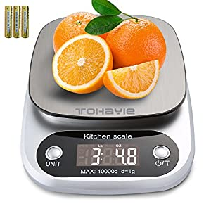 Digital Kitchen Scale, ToHayie Food Scale Max 22lb/10kg Multifunction Weight Electronic Kitchen Scale Baking Cooking Scale with Stainless Steel Surface and Tare Function Silver