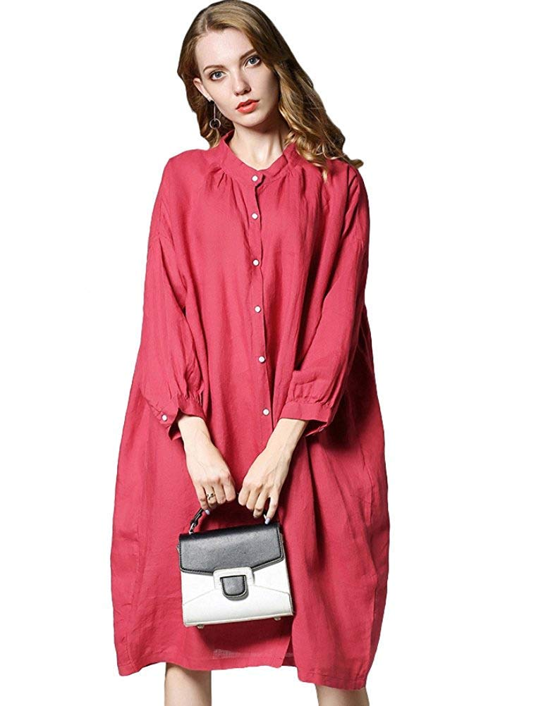 Oudan Women's Plus Batwing Shirt Dress Long Sleeve Casual Loose Blouse (color   Red, Size   Large)