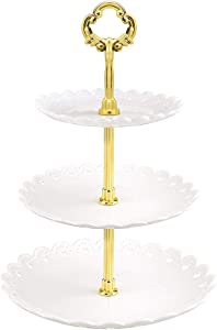 Wangcai Cupcake Stand 3 Tier Cupcake Holder Display Stand Serving Tray Shelf Food Fruit Cake Plate Stand for Wedding Birthday Party(White)