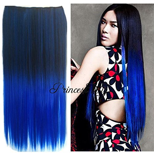 Digital Hair Extension - Princesswig Silky Straight Fashion Omber Dip-dye Color Black to Blue Synthetic Clip in Hair Extensions