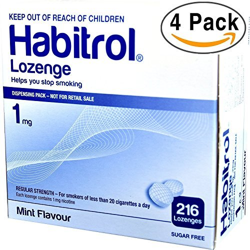 Habitrol Nicotine Lozenge 1mg Mint Flavor. 4 packs of 216 Lozenges (total 864)