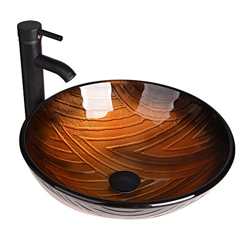 (Bathroom Vessel Sink with Faucet Mounting Ring and Pop Up Drain 16.5